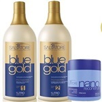 Kit Escova Progressiva Salvatore Blue Gold - Máscara Nano Reconstrutora Salvatore 500ML