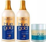 Kit Salvatore Blue Gold 2x1 Litro + Máscara Gold Xpres 500ml